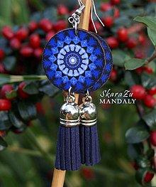 Náušnice - Mandala modrá - 11208811_