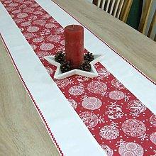 Úžitkový textil - RADANA červeno-biele Vianoce  - stredový obrus - 11206503_