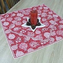 Úžitkový textil - RADANA červeno-biele Vianoce - vianočný obrus štvorec - 11206519_