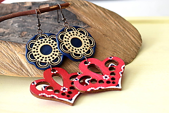 Náušnice - červeno-modré folk náušnice - 11206838_