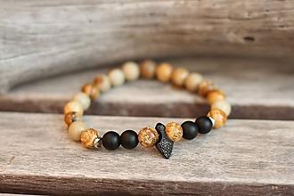 Šperky - Pánsky náramok z minerálu jaspis a onyx - 11208590_