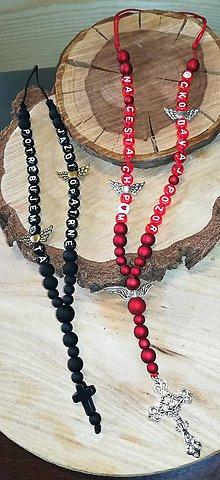 Iné šperky - Prívesok alebo amulet do auta čierny s kameny krížom   na želanie s textom menom alebo dátumom aj farebne podla vašeho p - 11212475_