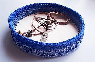 Košíky - Okrúhly košík s pevným dnom - modrý melír - 11211131_