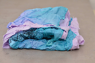 Šatky - DENY - bavlnená šatka s aplikovaným hodvábom. - 11212080_