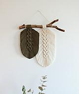 """Dekorácie - makramé listy """"minimalizmus"""" olivovo-biele - 11210601_"""