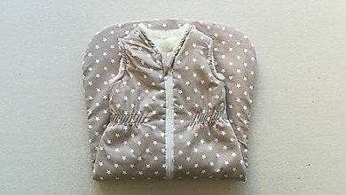 Detské oblečenie - VLNIENKA Spací vak pre deti a bábätká ZIMNÝ 100% MERINO na mieru béžový Hviezdička - 11211497_