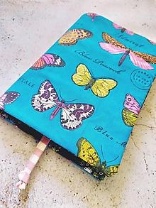 Papiernictvo - Obal na knihu motýliky na tyrkysovom poli - 11211303_
