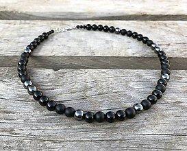Šperky - Pánsky náhrdelník - ónyx, hematit - 11210223_