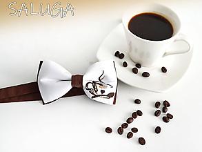 Doplnky - Pánsky motýlik - pre milovníkov kávy - hnedý - 11212952_