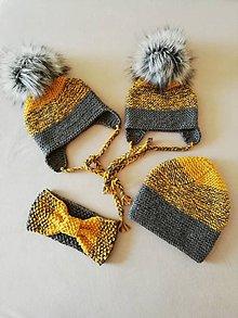 Detské čiapky - Rodinný set horčicova - 11210396_