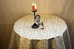 Úžitkový textil - Obrus. Slávnostný adventný vianočný zo zlatou potlačou cezmíny. - 11212691_