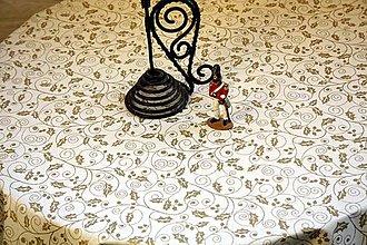 Úžitkový textil - Obrus. Slávnostný adventný vianočný zo zlatou potlačou cezmíny. - 11212692_