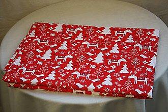 Úžitkový textil - Obrus. Vianočný, adventný červený s bielou. - 11212756_