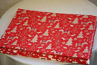 Úžitkový textil - Obrus. Vianočný, adventný červený s béžovozlatou. . - 11212783_