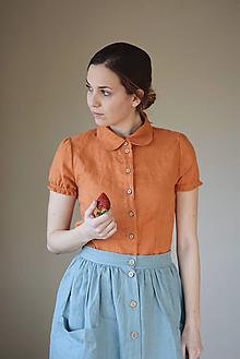 Košele - Dámska ľanová blúzka EMILY krátky rukáv - 11211397_