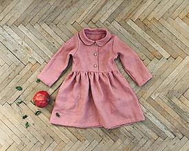 Detské oblečenie - Detské ľanové šaty s golierikom - 11212749_