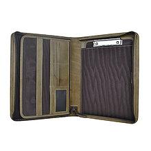 Tašky - Umelecká ručne fabená kožená spisovka v khaki farbe - 11212473_