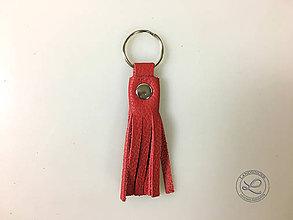 """Materiál ručne robený - Kožený strapec červený """"LAHTON"""" s krúžkom. - 11213383_"""