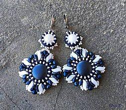 """Náušnice - Modro-biele náušnice """"Candy"""" - 11212234_"""