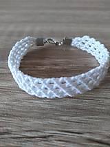Náramky - Makramé náramok biely - 11212364_