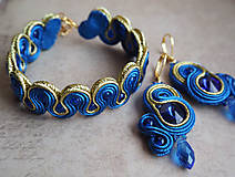 Náušnice - Šujtášové náušnice Blue World - 11212658_
