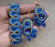 Náušnice - Šujtášové náušnice Blue World - 11212693_