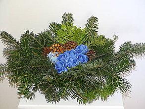 Dekorácie - Dušičkový veniec - modrý - 11210817_