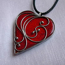 Náhrdelníky - Srdiečko z lásky - červené - 11212477_