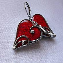 Náušnice - Srdiečka z lásky - červené - 11212481_