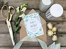 Papiernictvo - Svadobné oznámenie Greenery - 11210944_