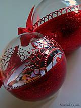 Dekorácie - ČERVENÉ vianočné guľe s 3D fotkou - 11210519_