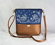 Kabelky - kabelka Dara modrotlačová hnedá metalická AM 1 - 11212600_