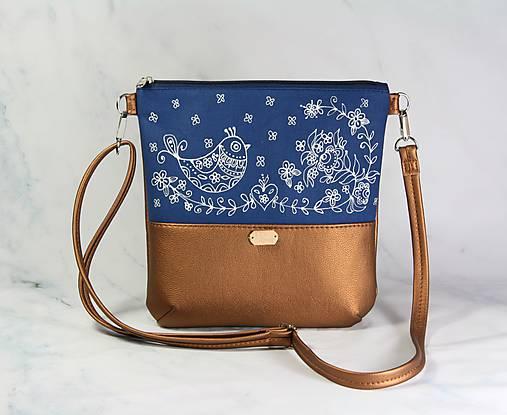 kabelka Dara modrotlačová hnedá metalická AM 1
