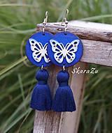 Náušnice - Motýliky v modrej - 11212911_