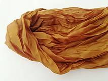 """Šály - """"gold brown"""" hodvábny šál (pléd, štóla) SKLADOM - 11213478_"""