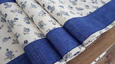 Úžitkový textil - Stredový obrus folk (Modré ružičky) - 11215865_