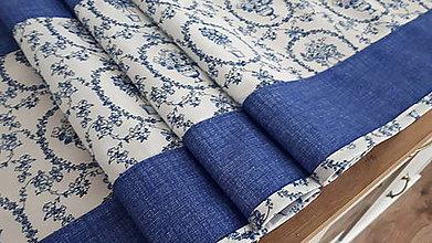 Úžitkový textil - Stredový obrus folk (Modré košíky) - 11215873_