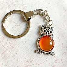 Kľúčenky - Carnelian Owl Keychain / Kľúčenka s karneolom - sova - 11215275_