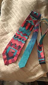 Doplnky - Maľovaná hodvábna kravata GEO - 11216397_