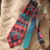 Doplnky - Maľovaná hodvábna kravata GEO - 11216398_