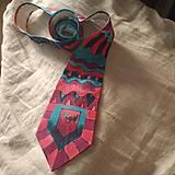 Doplnky - Maľovaná hodvábna kravata GEO - 11216402_
