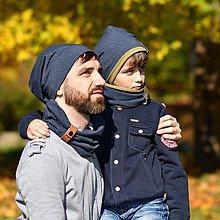 Doplnky - Pánsky a detský set čiapka s nákrčníkom s koženým remienkom - 11214154_