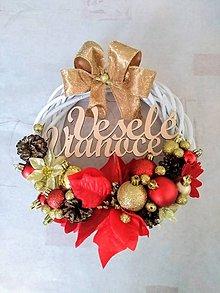 """Dekorácie - Vianočný venček na dvere """"červeno-zlatý"""" - 11216555_"""