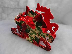 Dekorácie - sane s vianočnou ružou - 11214833_