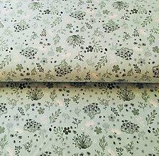 Textil - mentolové kvetinky, bavlnený úplet Nemecko, šírka 150 cm - 11214099_