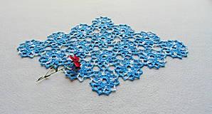 Úžitkový textil - Háčkovaná dečka Modro-biele kvety - 11214354_