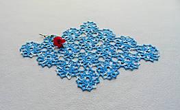 Úžitkový textil - Háčkovaná dečka Modro-biele kvety - 11214361_