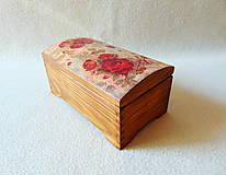 Krabičky - Drevená truhlička Červené ruže - 11216228_