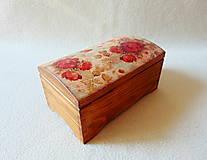 Krabičky - Drevená truhlička Červené ruže - 11216229_
