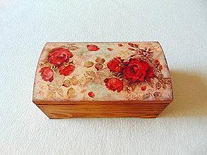 Krabičky - Drevená truhlička Červené ruže - 11216217_